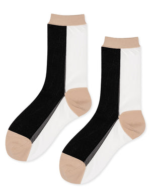 B Side Sheer Crew Socks - Black