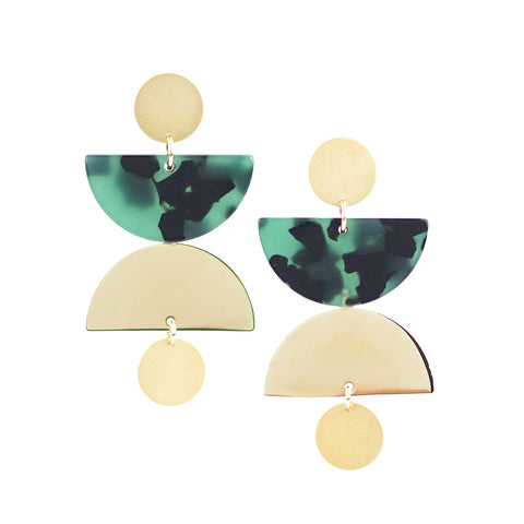 Cargo Earrings - Green Tort