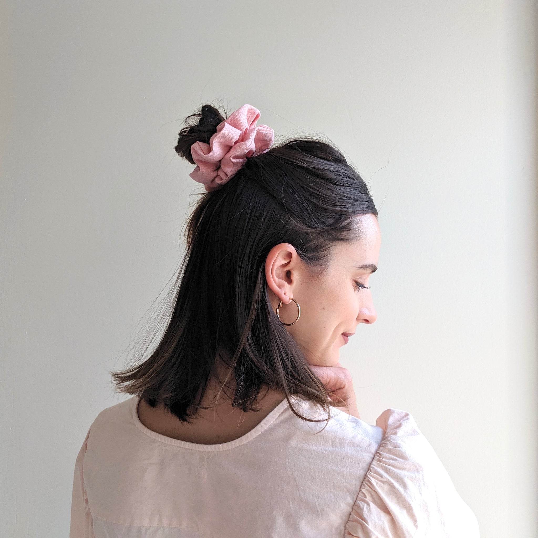 Linen Scrunchie - Pink Rose