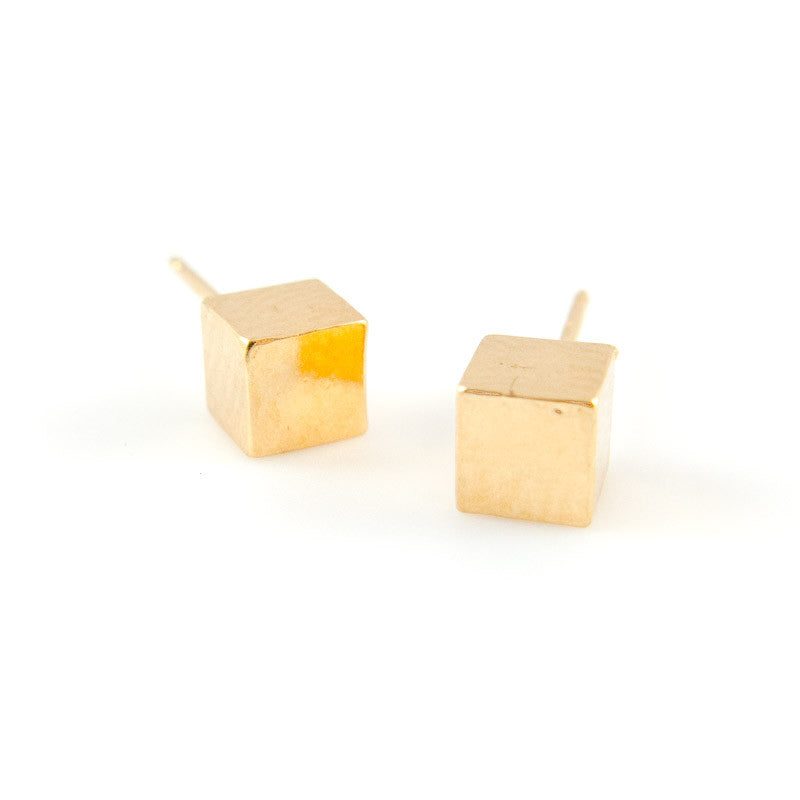 Gold Cube Studs