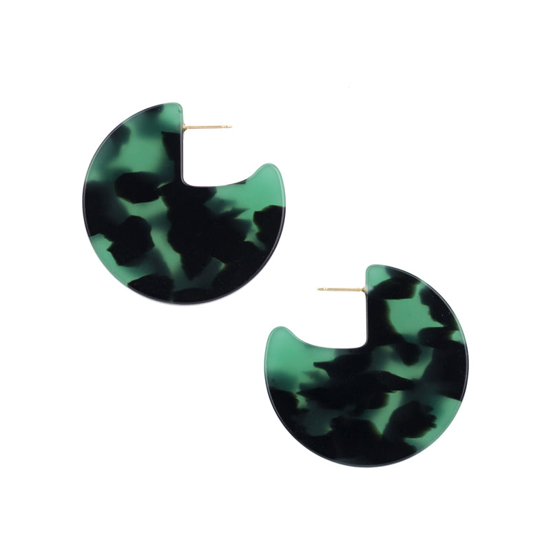 Meridian Earrings - Green Tort