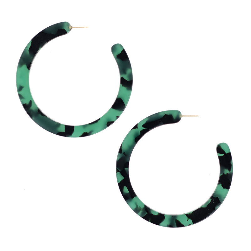 Large Slice Hoops - Green Tort