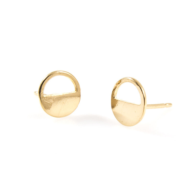 open in ship circle from fashion stud bushed jewelry geometric free item women simple earring gold new party round earrings