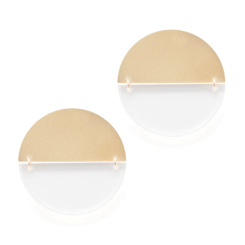 Halfsies Earrings - Gold & Clear