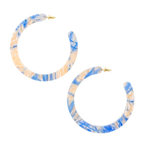 Large Slice Hoops - Blue Haze