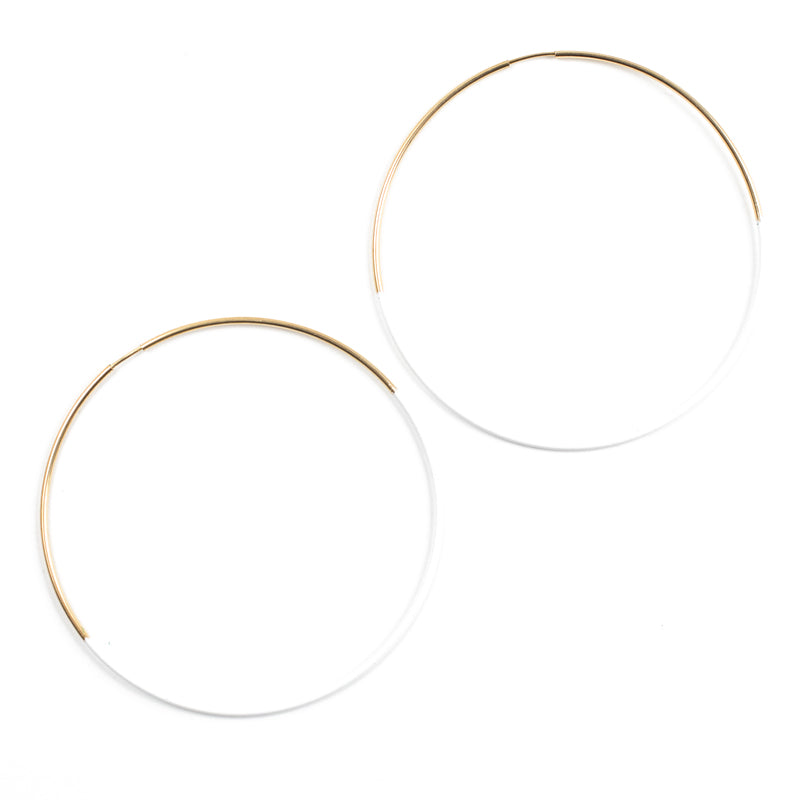 White Dipped Hoop Earrings
