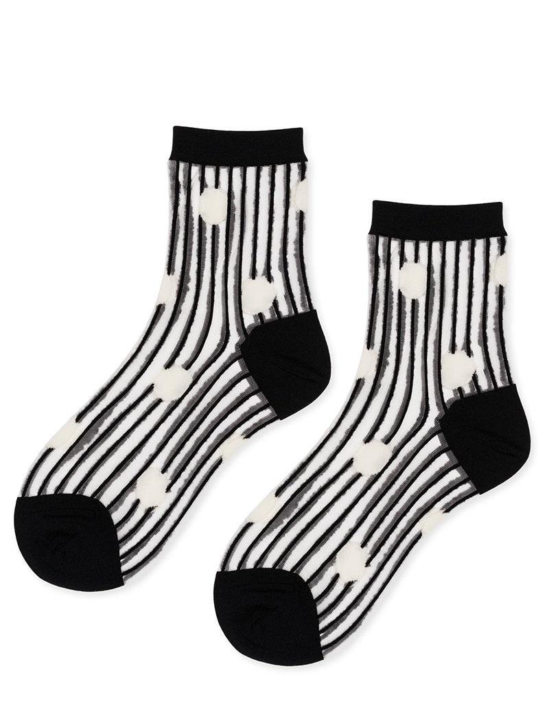 Line Dot Sheer Short Crew Socks - Black