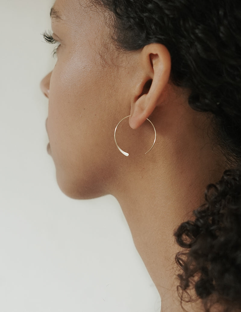 Silver Luna Hoops - Medium