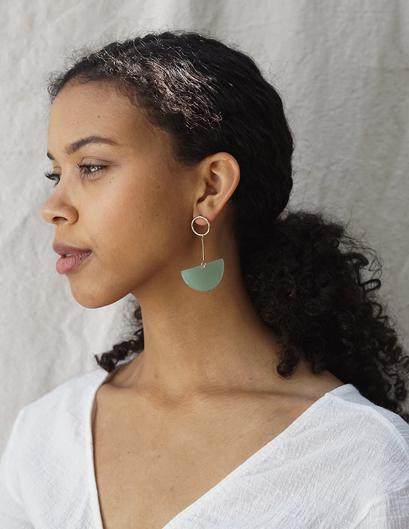 Lunette Earrings - Sea Foam