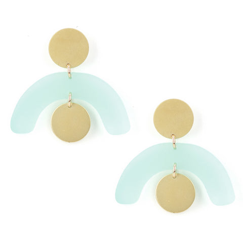 Mobile Earrings - Gold & Sea Foam
