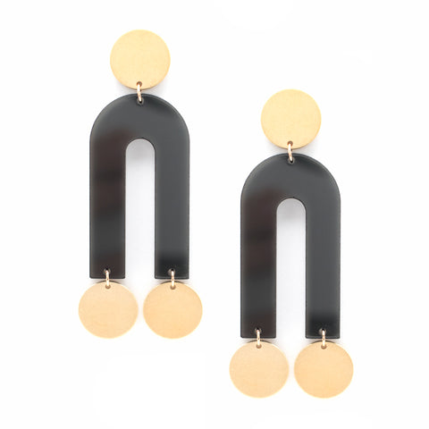 Passage Earrings - Gold & Smoke