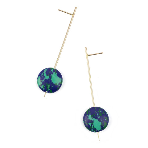 Pendulum Drop Earrings - Blue/Green Resin