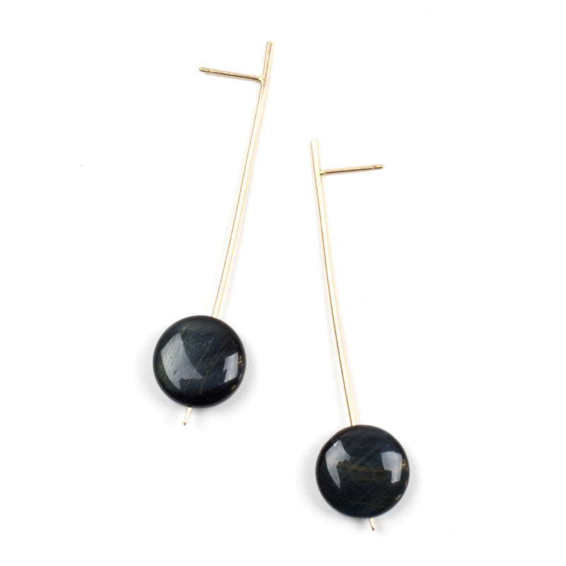 Pendulum Drop Earrings - Blue Tigers Eye