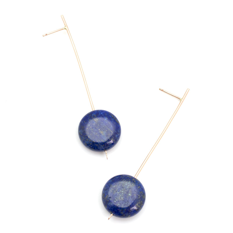 Pendulum Drop Earrings - Lapis