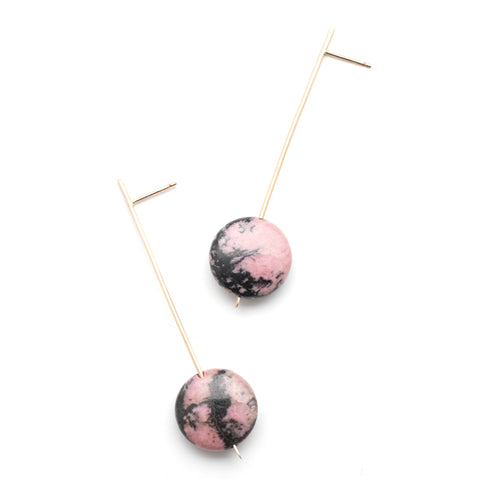 Pendulum Drop Earrings - Rhodonite