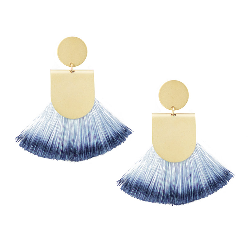 Pinna Earrings - Dip Dyed Indigo