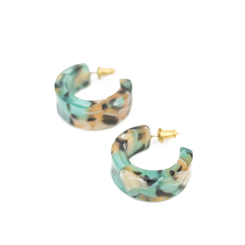 Pome Hoops - Teal Confetti