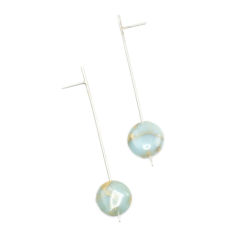 Silver Pendulum Drop Earrings - Aqua Terra Jasper