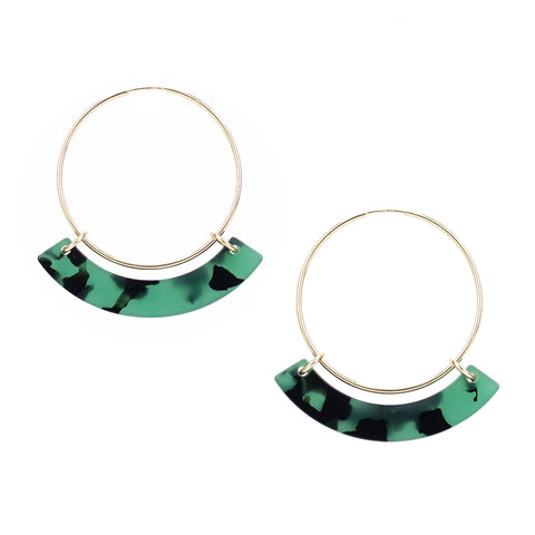 Small Corona Hoops - Green Tort