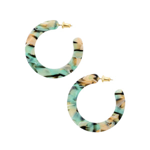 Small Slice Hoops - Teal Confetti