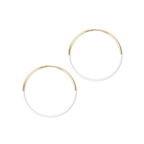 Small White Dipped Hoops