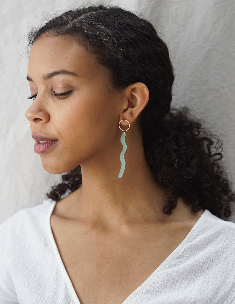 Stucco Earrings - Sea Foam