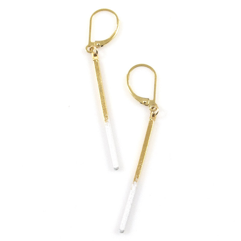 White Matchstick Earrings