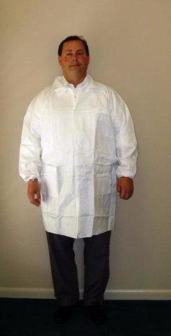 KeyGuard®  (Tyvek® Alternative) Lab Coat - White - 3 Pockets