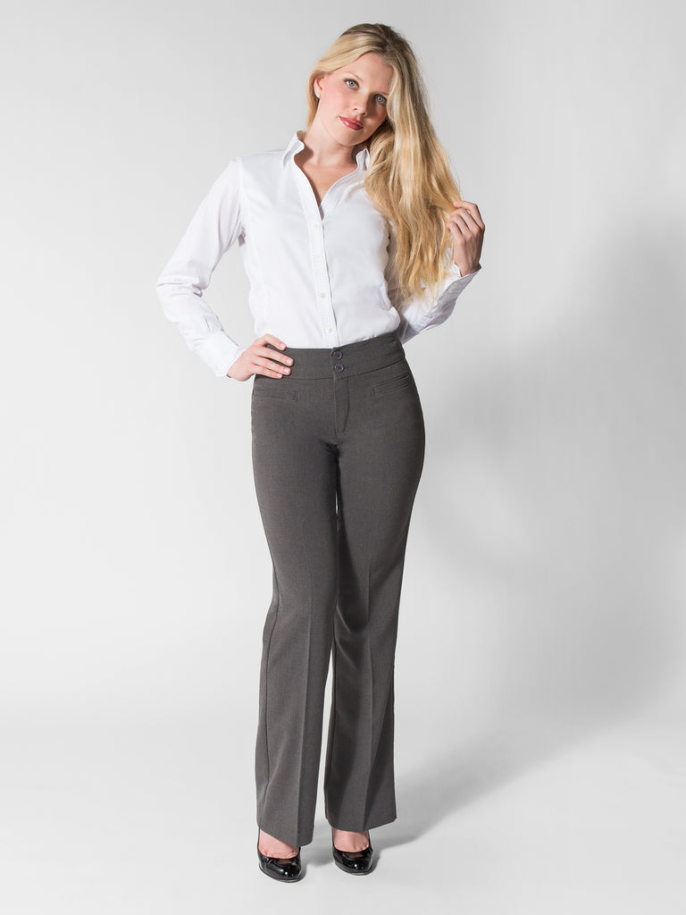 Tina pant shown in Heather Grey - Front
