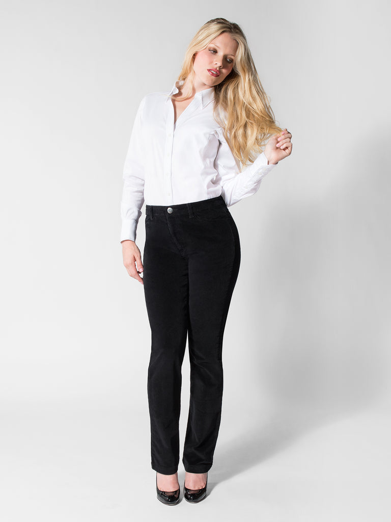 Lindsay Corduroy Pant in Black - Front