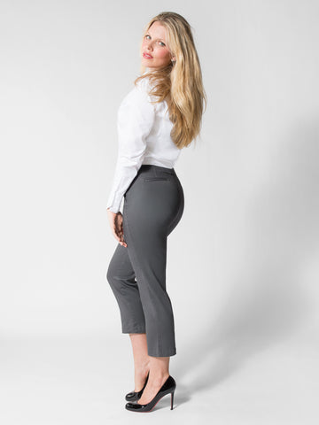 Elizabeth - Cotton Twill Capri (Grey)