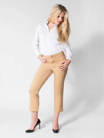 Elizabeth - Cotton Twill Capri (Tan)
