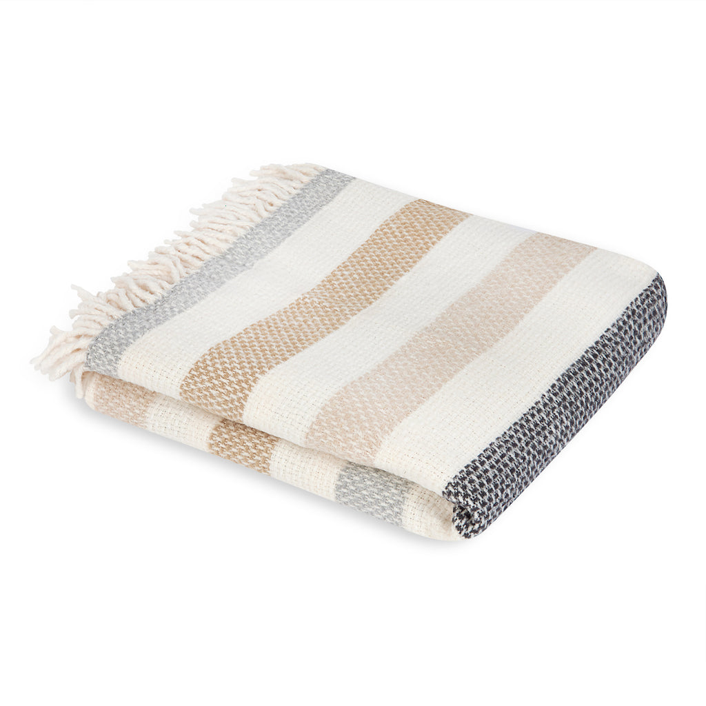 Mora Interior Eco Light Grey Stiped Blanket, Throw, Chunky Knit Cotton