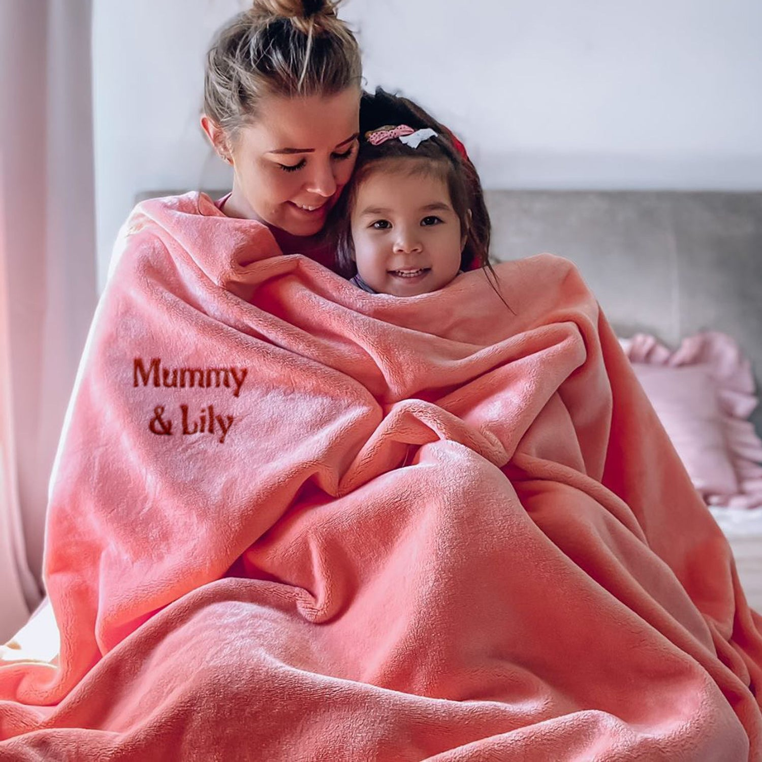 Mora Sofing (Pink) Personalised Microfibre Soft Sofa Blanket