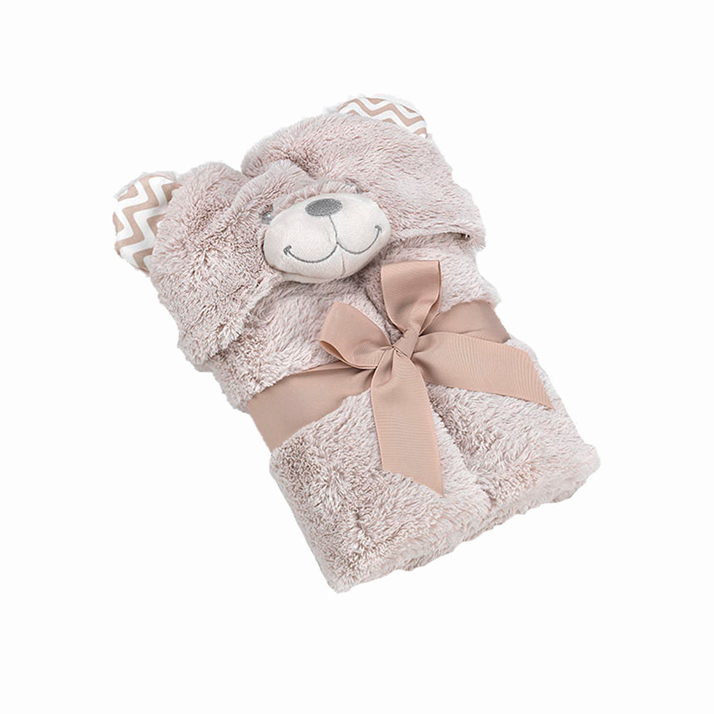 Pompon Bear (Beige) Blanket, Swaddle, Swaddle Blankets, Hooded Blanket