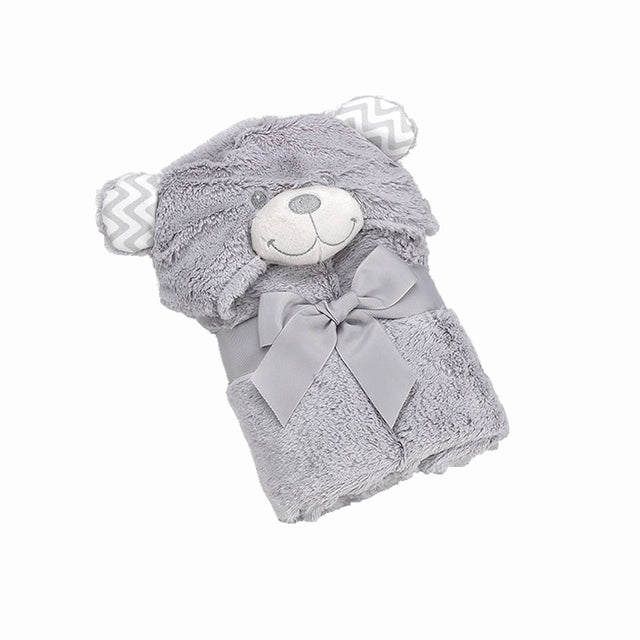 Pompon Bear (Grey) Blanket, Swaddle, Swaddle Blankets, Hooded Blanket