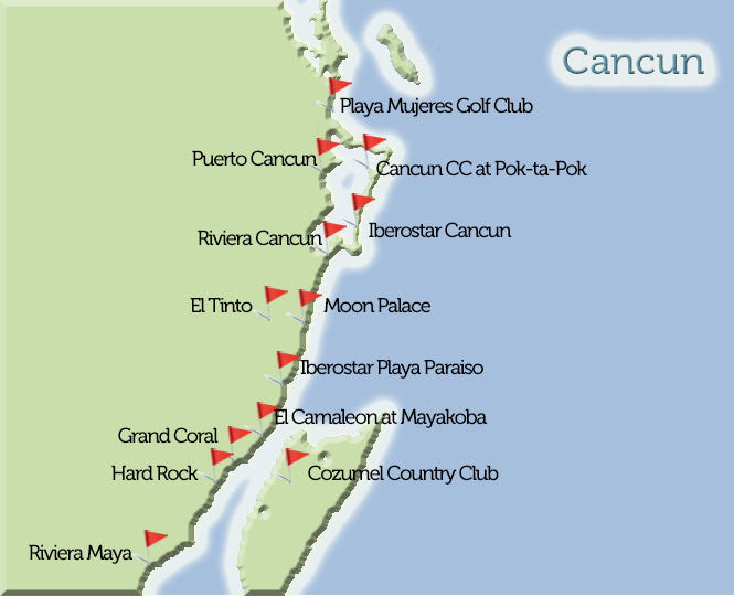 Cancun Golf Courses Map View Golf Mexico Tee Times