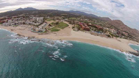 Drone shot looking at #5 at Cabo Real Golf Club
