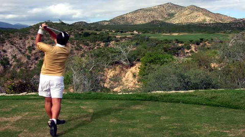 Teeing off at Cabo del Sol Desert Course