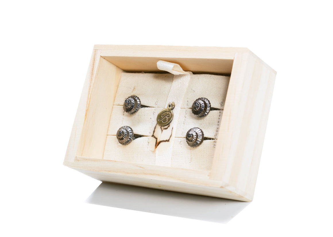 Antiqued Whelk Tux Studs