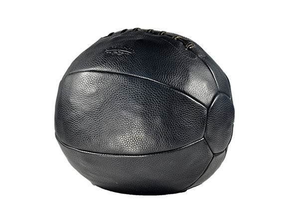 12 lb Pebble Grain Leather Medicine Ball - Black