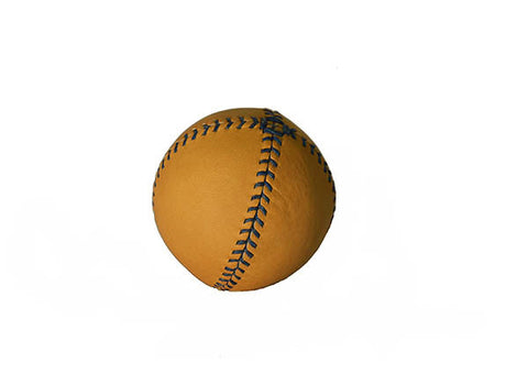 LEMON BALL™ baseball.  Tan Horween Glove Tan Leather, Blue Stitch