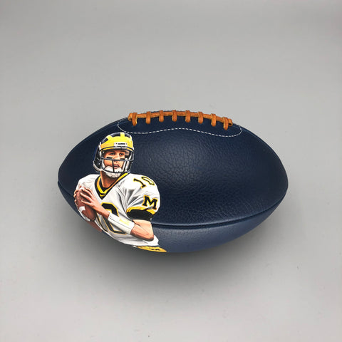 Tom Brady Hand Painted on Blue Horween Football