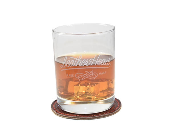 Leather Head 14 oz Rocks Glasses (Set of 4)