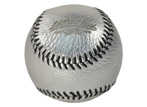 Baseball, Silver Leather with Black Stitch