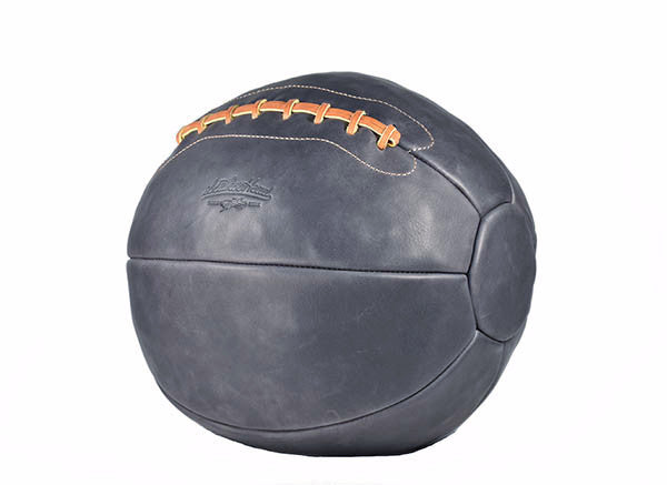 12 lb Leather Medicine Ball - Navy Blue