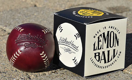 Lemon Ball Leather Baseball - Burgundy & White
