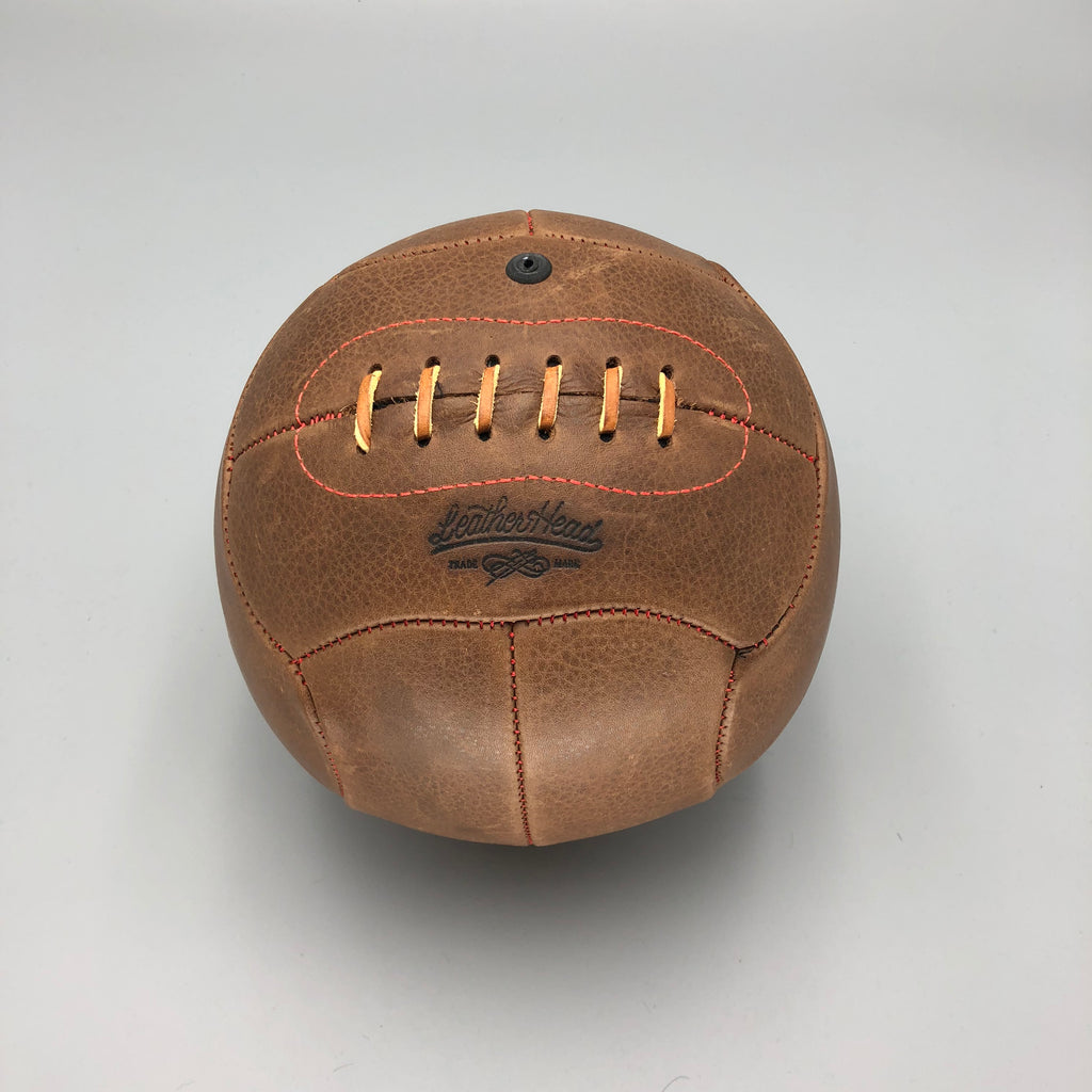 Brown No.4 Soccer Ball, 12 Panel, red stitch