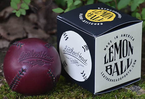 Lemon Ball Leather Baseball - Burgundy & Black