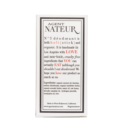 Agent Nateur No. 3 Organic Holistic Deodorant back packaging